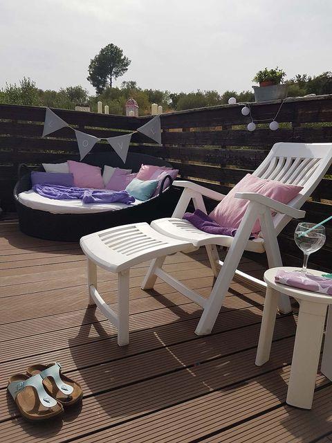 Furniture, Outdoor furniture, Purple, Lavender, Outdoor table, Violet, Patio, Design, Armrest, Coffee table,