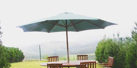 Umbrella, Table, Furniture, Chair, Outdoor furniture, Outdoor table, Shade, Lawn, Yard, Patio,