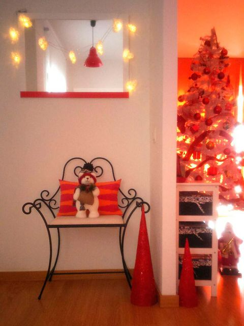 Lighting, Interior design, Room, Red, Christmas decoration, Interior design, Holiday, Light, Home, Flooring,