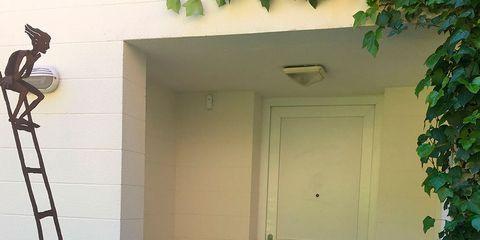 Green, Wood, Property, Door, House, Wall, Home door, Fixture, Wood stain, Door handle,