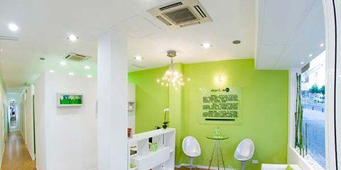 Lighting, Floor, Green, Interior design, Flooring, Wood, Room, Ceiling, Wall, Light fixture,