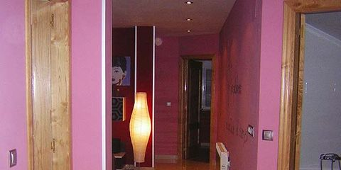 Wood, Floor, Flooring, Hardwood, Violin family, Room, Purple, Interior design, Wood stain, Wall,