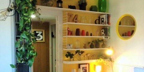 Room, Furniture, Floor, Interior design, Shelving, Shelf, Wood flooring, Cabinetry, Hardwood, Interior design,