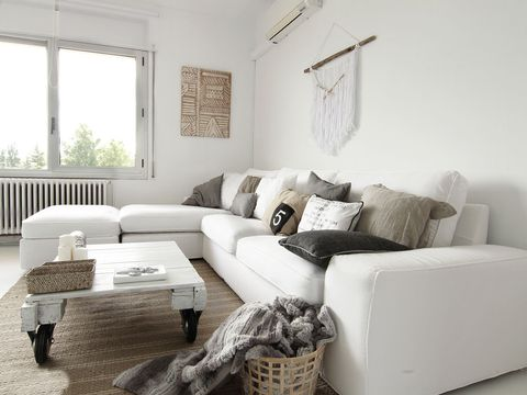 Living room, Furniture, Room, Couch, White, Interior design, Property, Table, Coffee table, Sofa bed,