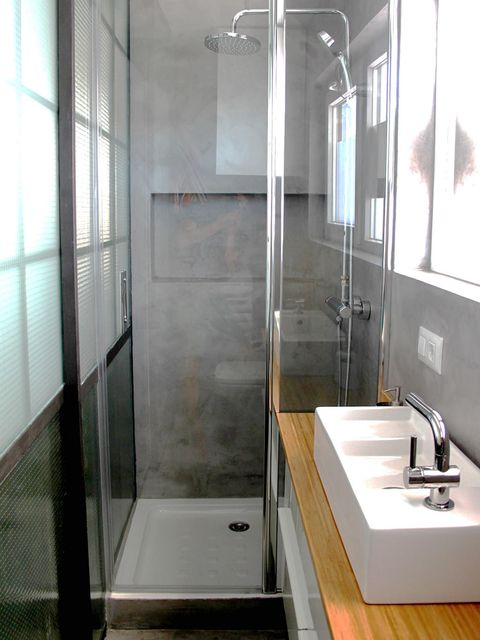 Architecture, Plumbing fixture, Glass, Property, Room, Interior design, Wall, Floor, Tap, Sink,