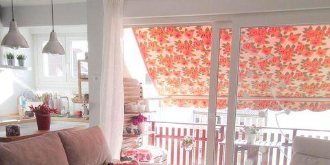 Interior design, Room, Floor, Home, Living room, Furniture, Couch, Interior design, Pink, Flooring,
