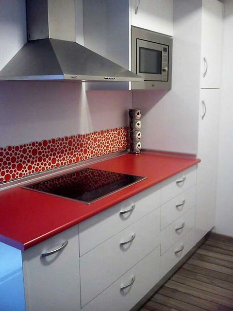 Room, Floor, Property, Drawer, Interior design, Red, White, Cabinetry, Flooring, Grey,