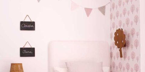 Room, Interior design, Product, Wood, Bed, Textile, Wall, Bedding, Furniture, Pink,