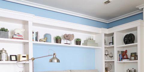 Wood, Blue, Room, Interior design, Shelf, Floor, Shelving, Home, Flooring, Wall,