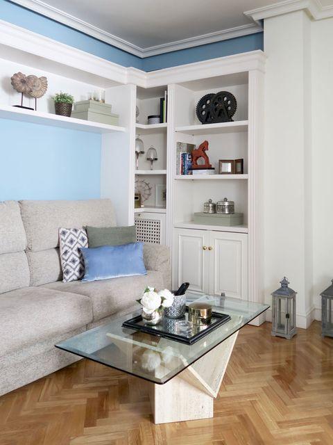 Wood, Blue, Room, Interior design, Floor, Home, Living room, Flooring, Wall, White,