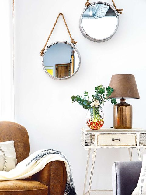 White, Room, Furniture, Turquoise, Blue, Interior design, Mirror, Table, Yellow, Wall,