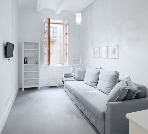 White, Room, Furniture, Property, Interior design, Floor, Ceiling, Building, Bedroom, Wall,