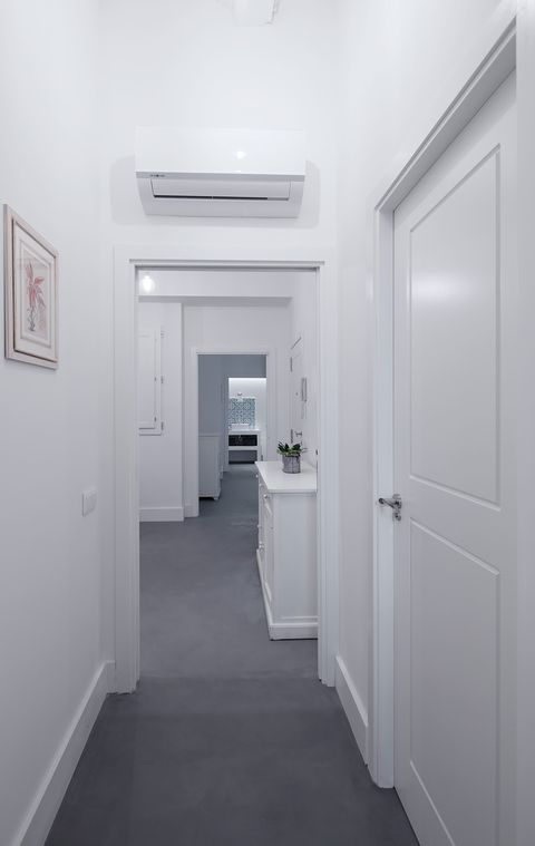 White, Room, Property, Ceiling, Interior design, Building, Architecture, Floor, Line, Design,