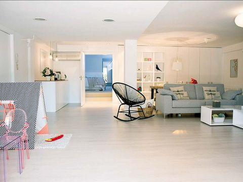 Floor, Room, Interior design, Flooring, Ceiling, Interior design, Light fixture, Couch, Cart, Hall,