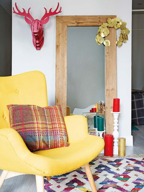 Yellow, Room, Red, Furniture, Pink, Interior design, Living room, Wall, Design, Pattern,