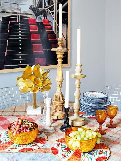 Yellow, Brunch, Table, Food, Orange, Meal, Room, Breakfast, Cuisine, Interior design,