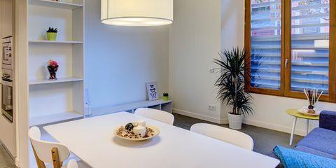 Room, Interior design, Furniture, Table, Wall, Shelf, Floor, Home, Interior design, Shelving,