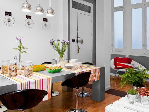 Interior design, Room, Floor, Table, Furniture, Interior design, Flooring, Ceiling, Light fixture, Fixture,