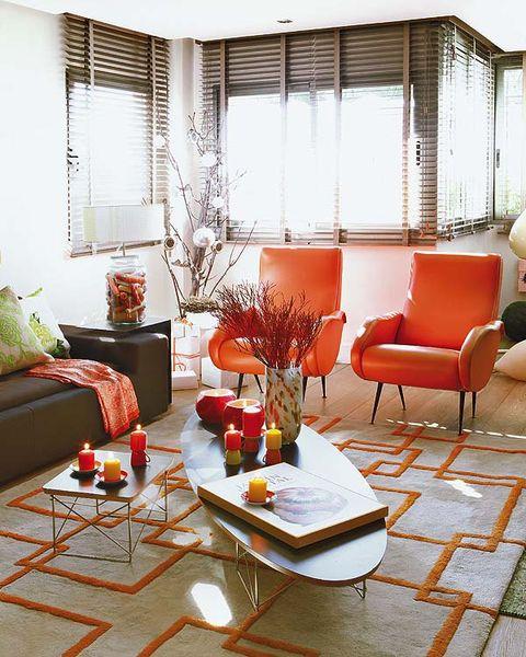 Room, Interior design, Furniture, Table, Interior design, Living room, Floor, Home, Orange, Couch,