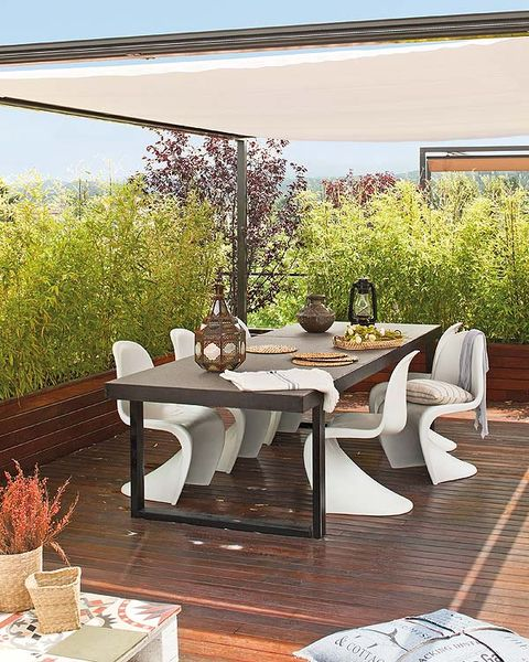Table, Furniture, Floor, Outdoor table, Flowerpot, Hardwood, Coffee table, Shade, Patio, Outdoor furniture,