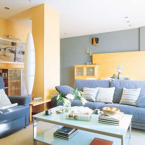Blue, Room, Interior design, Living room, Green, Home, Wall, Furniture, Table, Couch,