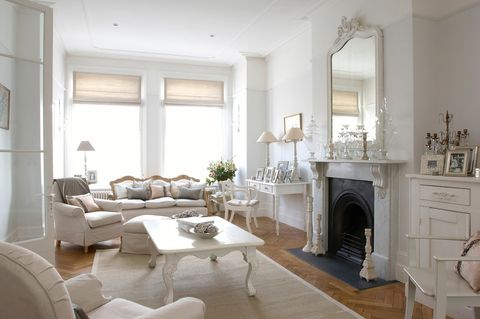 Room, Living room, Furniture, Interior design, Property, White, Building, Floor, Fireplace, Table,