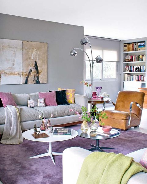 Room, Interior design, Green, Living room, Furniture, Wall, Home, Table, Couch, Purple,