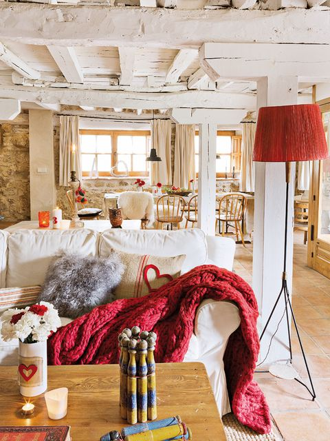 Room, Interior design, Textile, Red, Furniture, Interior design, Ceiling, Linens, Home accessories, Home,
