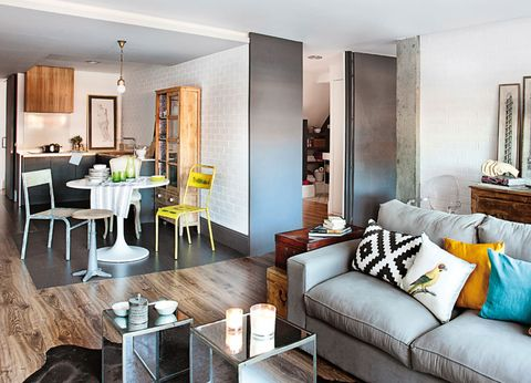 Interior design, Room, Floor, Living room, Table, Furniture, Wall, Couch, Home, Ceiling,