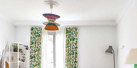 Green, Room, Floor, Interior design, Yellow, Flooring, Living room, Home, Wall, Ceiling,