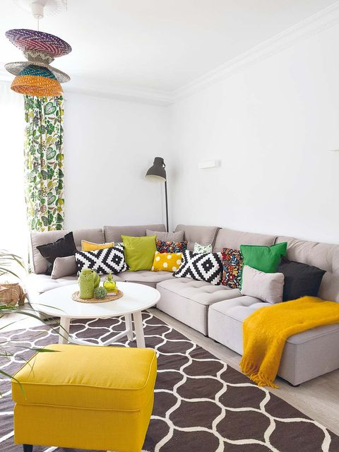 Room, Yellow, Interior design, Living room, Wall, Furniture, Couch, Home, Interior design, Pillow,