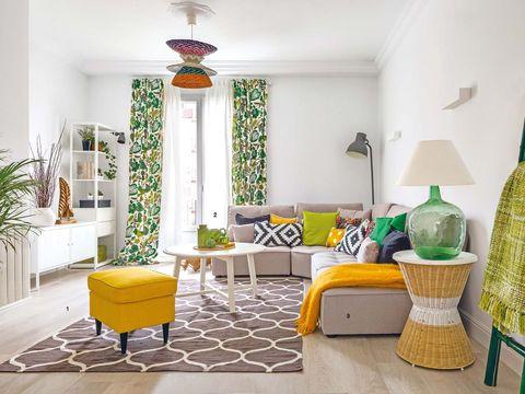 Green, Interior design, Room, Yellow, Floor, Flooring, Wall, Ceiling, Interior design, Home,