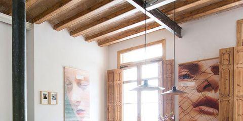 Wood, Floor, Room, Interior design, Hardwood, Flooring, Table, Furniture, Ceiling, Fixture,