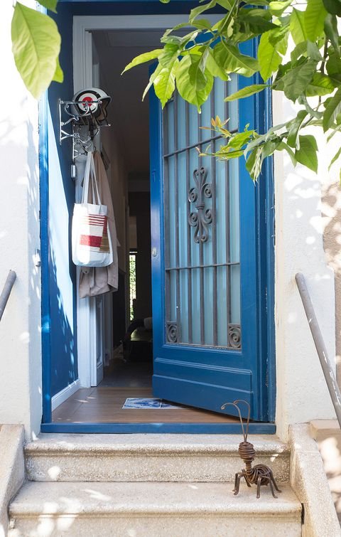 Blue, Majorelle blue, Door, Porch, Home, House, Architecture, Room, Tree, Building,