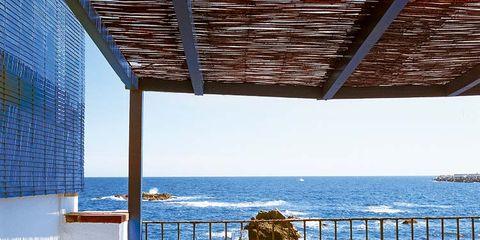 Blue, Table, Ocean, Azure, Fruit, Balcony, Shade, Outdoor table, Sea, Serveware,