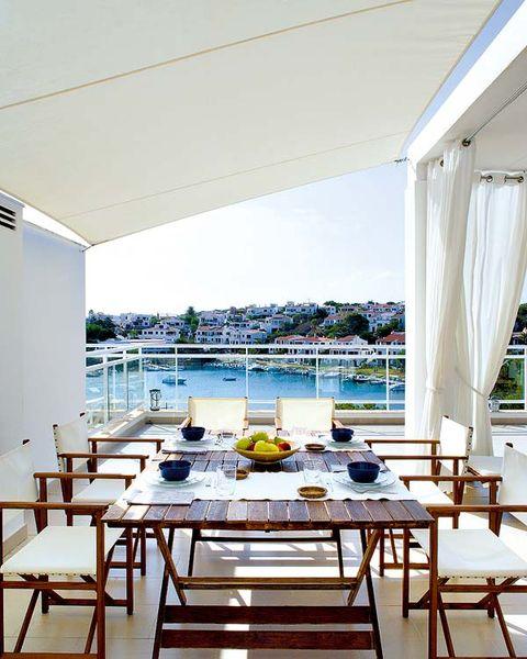 Furniture, Table, Interior design, Glass, Chair, Shade, Curtain, Apartment, Restaurant, Design,