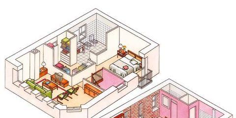 House, Magenta, Urban design, Home, Illustration, Plan, Drawing,