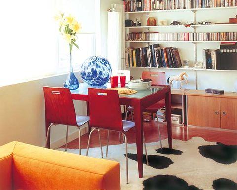 Room, Interior design, Shelf, Table, Furniture, Interior design, Shelving, Floor, Cabinetry, Dining room,