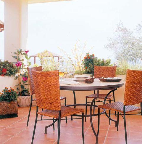 Table, Furniture, Floor, Interior design, Flooring, Chair, Interior design, Flowerpot, Outdoor table, Hardwood,