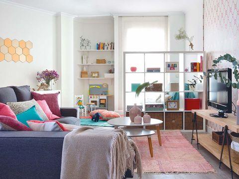 Room, Interior design, Furniture, Textile, Wall, Home, Living room, Interior design, Floor, Shelving,