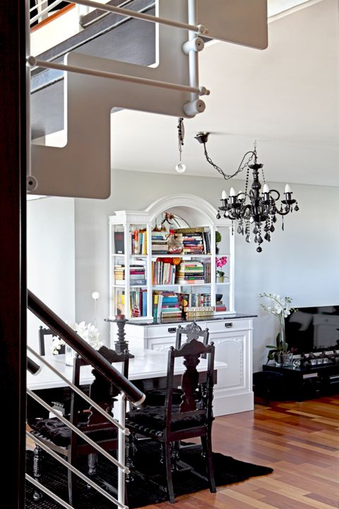 Room, Interior design, Furniture, Ceiling, Stairs, Building, Lighting, Floor, Home, Light fixture,