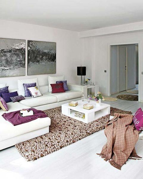 Room, Interior design, Home, Floor, Living room, Wall, Purple, Couch, Door, Lavender,