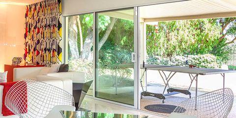 Furniture, Interior design, Floor, Flooring, Chair, Outdoor table, Light fixture, Shade, Outdoor furniture, Design,