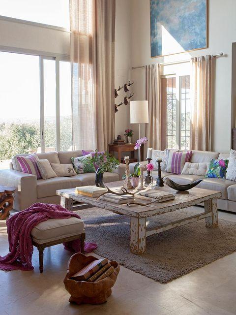 Interior design, Room, Living room, Furniture, Home, Table, Purple, Couch, Floor, Interior design,