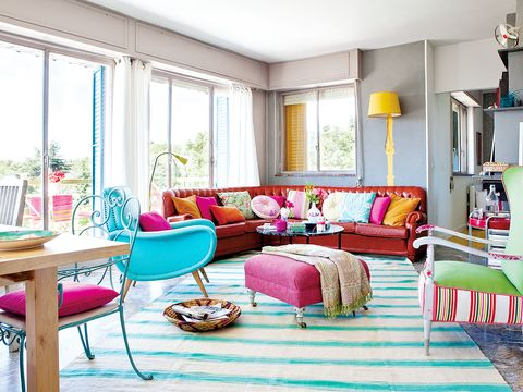 Room, Interior design, Green, Furniture, Home, Floor, Table, Living room, Couch, Pink,