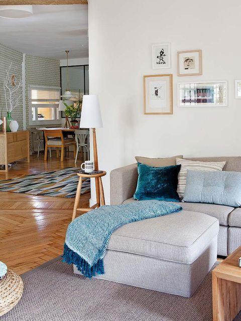 Furniture, Room, Living room, Interior design, Bedroom, Property, Floor, Blue, Home, Bed,