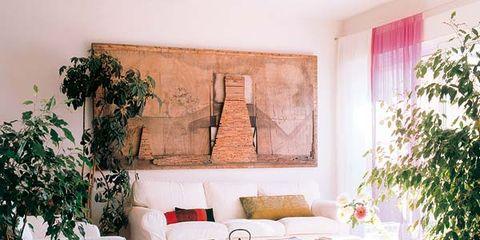 Interior design, Room, Wall, Floor, Flowerpot, Table, Interior design, Flooring, Houseplant, Living room,