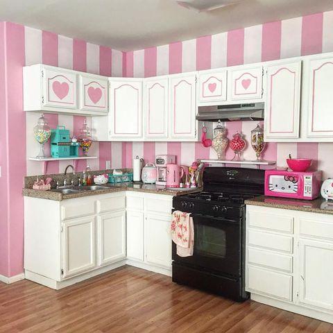 Room, Wood, Floor, Interior design, Kitchen, White, Pink, Flooring, Cabinetry, Wood flooring,