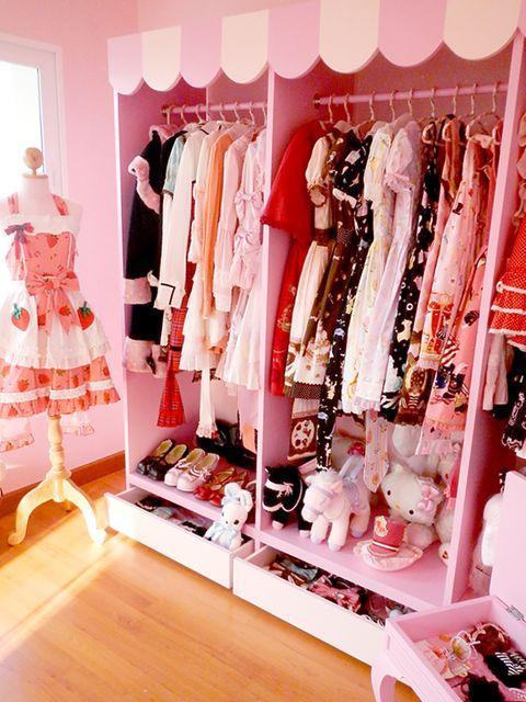 Pink, Room, Boutique, Clothes hanger, Fashion, Closet, Furniture, Interior design, Dress, Peach,