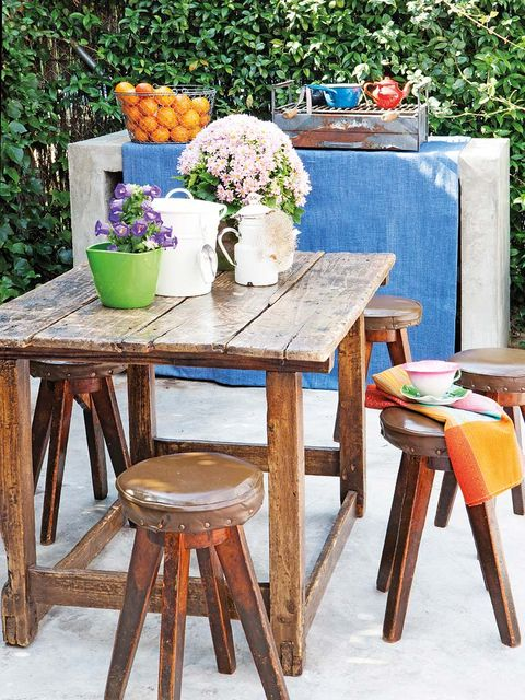 Flowerpot, Table, Flower, Furniture, Bar stool, Bouquet, Stool, Paint, Vase, Outdoor furniture,